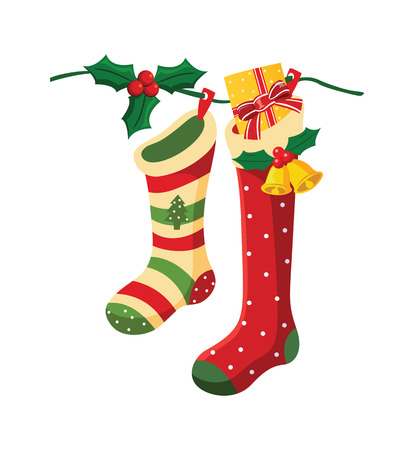 Vector illustration of christmas socks hanging on a wire