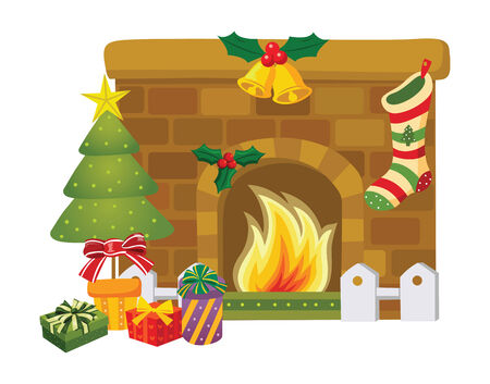 cartoon fireplace: Christmas decoration around the fireplace Illustration