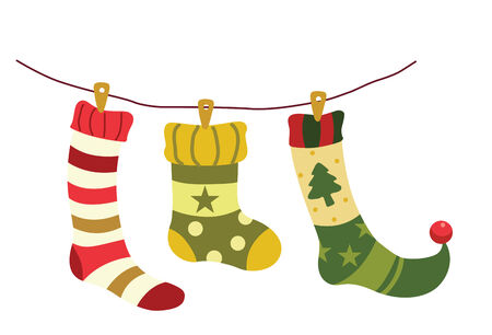 Vector illustration of christmas socks hanging on a wire. Illustration