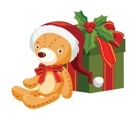 teddy bear with a gift box Illustration
