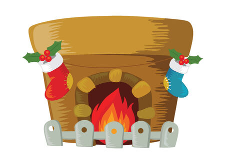 Fireplace decorated for Christmas. Illustration