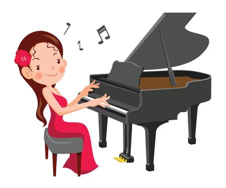 piękne dziewczyny gry na fortepianie. cartoon ilustracji wektorowych