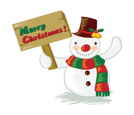 Cartoon snowman holding a signboard Illustration