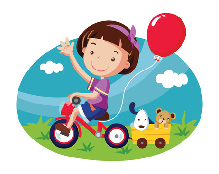 little girl on bicycle. cartoon vector illustration