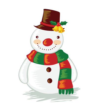 vector illustration of a cartoon snowman Illustration