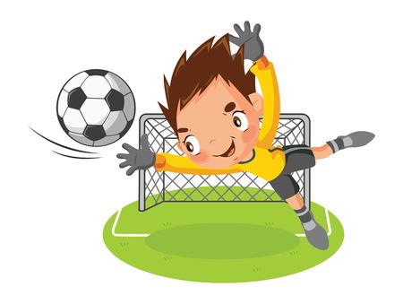 arquero: Portero salto atrapar una pelota Vectores