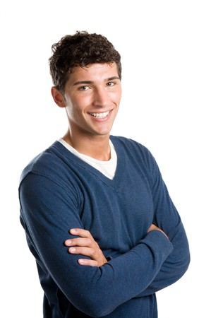 Young smiling latin man looking at camera isolated on white background Stock Photo - 7889500