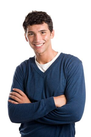cool boy: Young smiling latin man looking at camera isolated on white background
