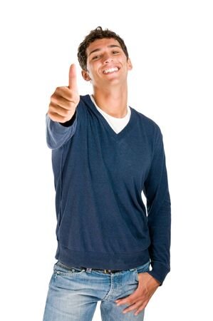 Smiling latin teenager showing thumb up isolated on white background Stock Photo - 7889442