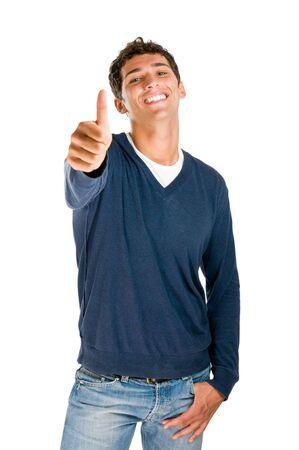 pulgar levantado: Sonriendo Latina adolescente mostrando pulgar aislado sobre fondo blanco  Foto de archivo