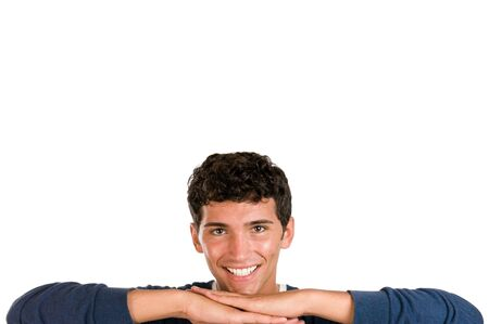Happy young man leaning on the bottom of the frame isolated on white background Stock Photo - 7889356