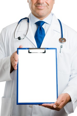 Doctor showing blank clipboard to write it on your personal message isolated on white background Stock Photo - 7889365