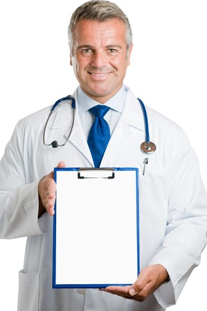 Smiling happy mature doctor showing empty clipboard to write it on your personal advice, isolated on white background photo