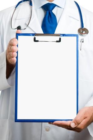 Doctor showing blank clipboard to write it on your personal message or advice Stock Photo - 7889368