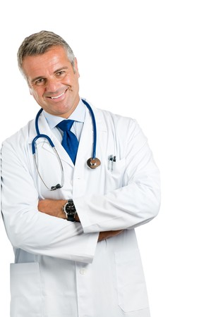 Smiling mature doctor leaning on wall isolated on white background Stock Photo - 7889357