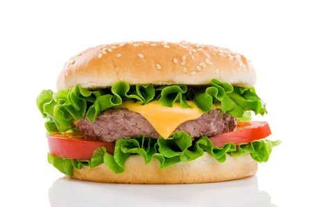Big fresh delicious hamburger isolated on white background. Professional studio image photo