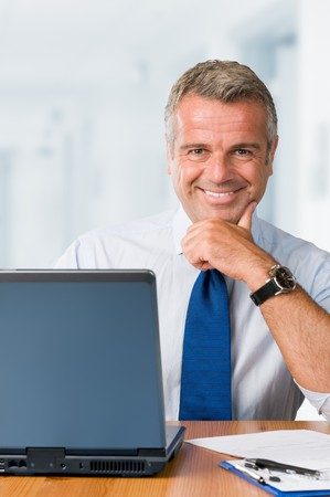Happy smiling mature businessman looking at camera and working in his modern office Stock Photo - 7889592