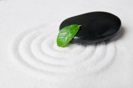 Zen garden pebble detail with green leaf on a raked white sand  photo