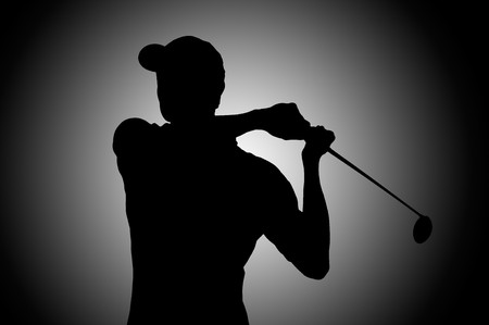 golf swing: Golf player silhouette in studio Stock Photo