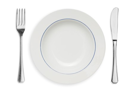 Clean placed plate with fork and knife isolated on white background photo