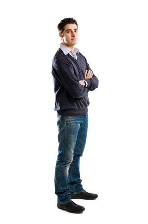 persona de pie: Retrato de longitud completa de hombre joven aislado sobre fondo blanco