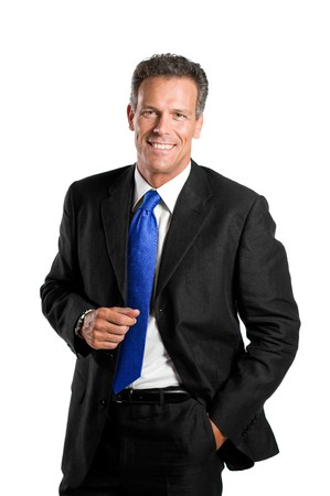 gray suit: Senior businessman looking at camera with a bright smile, isolated on white background