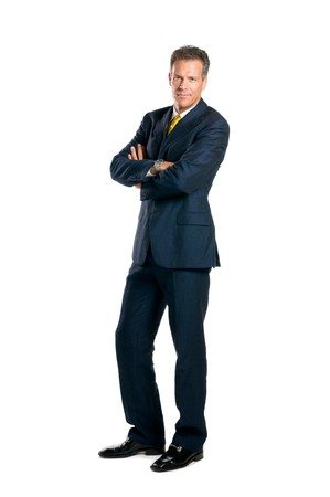 standing alone: Confident businessman standing full length isolated on white background Stock Photo