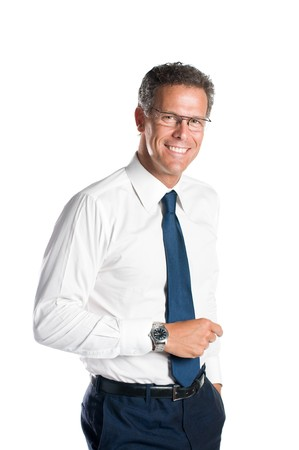 Smiling senior businessman looking at camera with a pair of glasses, isolated on white background photo