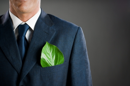 Stylish businessman with a fresh green leaf in his pocket. Green business concept, take care of the environment! photo