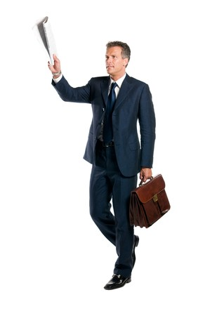 Mature businessman call the attention with the morning news raised isolated on white background Stock Photo - 8234457
