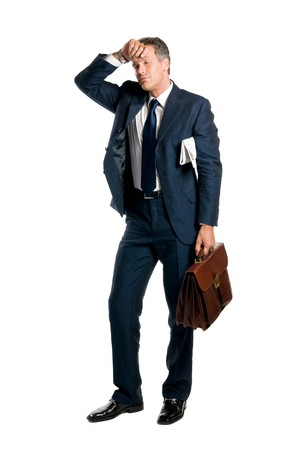 Tired businessman take a little break isolated on white background Stock Photo - 8234683
