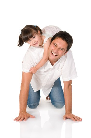 carry: Smiling father carrying on his shoulders his little daughter isolated on white background