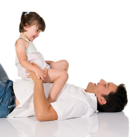 Father have fun with his adorable daughter isolated on white background Stock Photo - 8234471