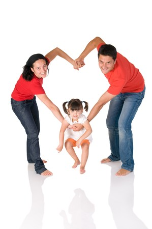 staying in shape: Happy family staying together in a heart shape embrace isolated on white background