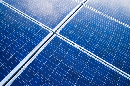 Blue solar panels pattern for sustainable energy photo