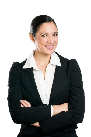 Beautiful smiling confident business woman looking at camera isolated on white background. Stock Photo - 8235121