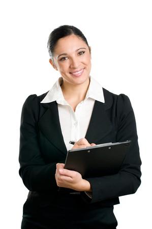 topografo: Mujer de negocios hermoso tomando notas en su portapapeles aislados sobre fondo blanco  Foto de archivo