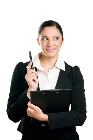 Latin business woman holding pen and clipboard with thinking expression isolated on white background photo