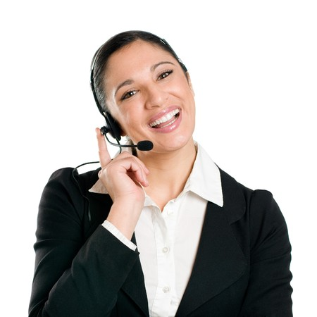 Young smiling business woman operator with headset isolated on white background photo