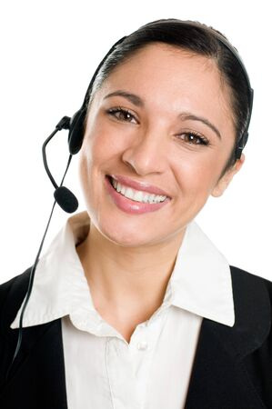 Young confident business woman operator with headset isolated on white background Stock Photo - 8235204