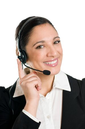 Young woman phone operator with headset at call center isolated on white background photo