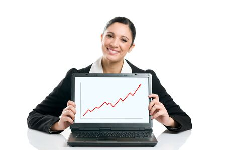 stockholder: Young business woman displaying successful growing graph on her laptop isolated on white background