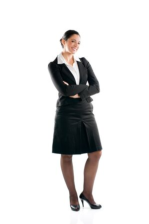 Full length young business woman standing isolated on white background Stock Photo - 8234453