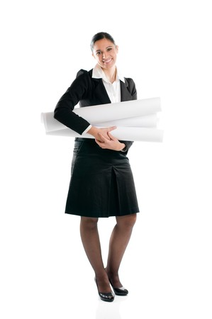 Full length young architect woman with plans isolated on white background Stock Photo - 8234450