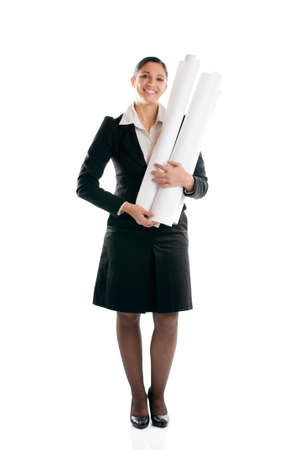 Full length young architect woman with plans isolated on white background Stock Photo - 8234452