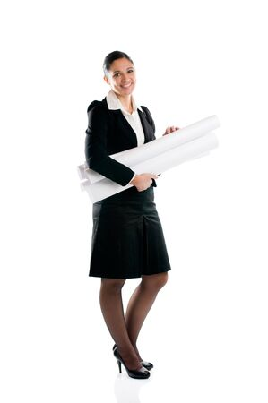 Full length young architect woman with plans isolated on white background Stock Photo - 8234448