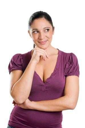 mujer pensativa: Pensativa joven aislada sobre fondo blanco  Foto de archivo