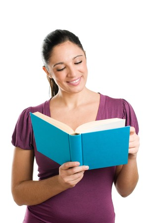 Beautiful young casual woman looking down while reading a book Stock Photo - 8235208