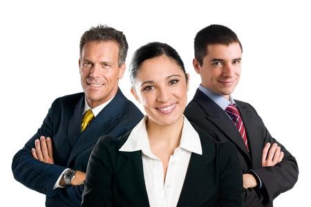 confianza: Varios a�os equipo de negocios feliz con la mujer y el hombre aislado sobre fondo blanco