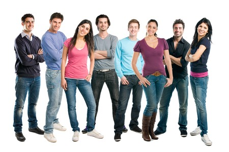 standing in line: Happy smiling latin group of friends standing together in a row isolated on white background